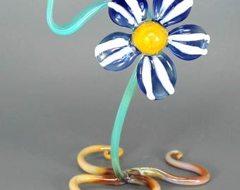 Blue Glass Flower Sculpture - Lampwork Botanical Art