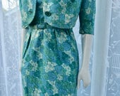 Mad Men 1950s 60s Original Vintage Blue and Green Leaf and Floral print Wiggle and Jacke& Dress sz 10 UK