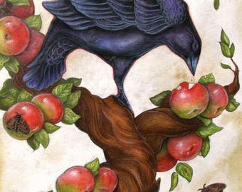 Raven in Apple Tree....Giclee Fine Art Print