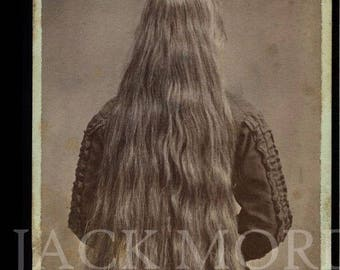 Creepy Vintage Photo CDV Photo Long Hair Girl with Back Turned to Photographer