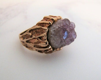 RESERVED PHILIPPA LAYAWAY Mid Century 9 Carat Gold Brutalist Ring. Raw Amethyst Geode Druzy Ring. Hallmarked London 1970. Massive Modernist