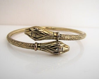 Art Deco Rolled Gold Amerikaner Forearm Bracelet. Signed Andreas Daub Germany Snake Bangle. Engraved Double Headed Upper Arm Cuff Bracelet