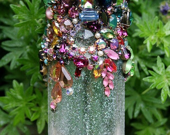 Jeweled Bottle Encrusted Jewelry Rhinestones Crystals Glass Small Bottle Raw Amethyst Points Colorful Original Home Art Decor