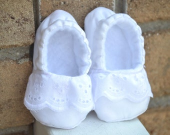 white cotton baby girl baptism shoes, christening shoes