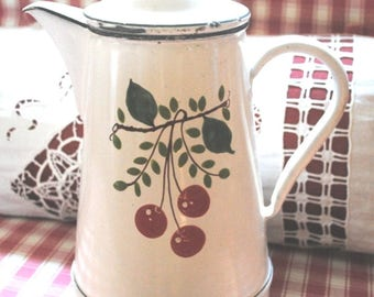 Antique French enamelware COFFEE POT white & Cherries hand painted