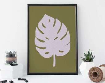 Monstera Leaf Print, Botanical Art, Contemporary Print, Plant Art, Home Decor – 8 X 11 Print