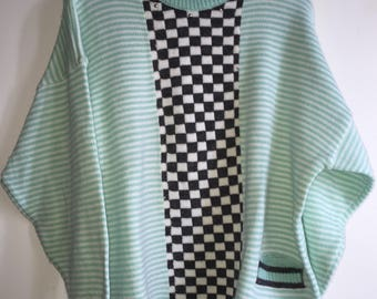 Vintage Women's Cable Knit Sweater By Back to Back Size Medium Checkered/Striped