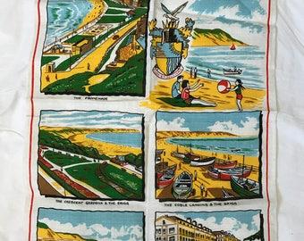 Vintage Yorkshire Linen Tea Towel // Filey // Irish Linen Made in Ireland // Crescent Gardens Brigg Promenade Sea // for Fenbys Furnishers