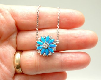 Flower Blue Opal Necklace, Flower Pendant Necklace, Sterling Silver Diamond CZ Necklace, Fire Opal Jewelry, October Birthstone Necklace Gift