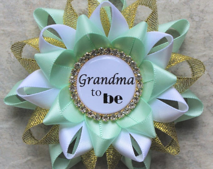 Mint and Gold Baby Shower Pins, Baby Shower Decorations, Mint Green, Gold, White, Baby Boy Shower, Grandma to be, Mommy, Nana, Daddy, Sister