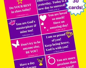 Scripture Inspired Lunch Box Notes for Girls - Printables Instant DOWNLOAD