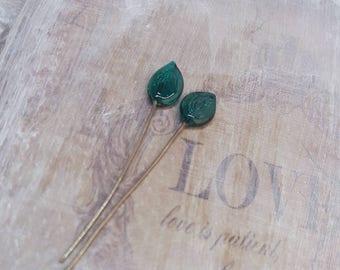 2 clous en verre de Murano filé à la flamme, feuilles vert , SAHP19