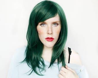 Green wig | Halloween wig, Halloween Costume wig, Dark Green wig, Scene wig, Green Emo wig | Green Cosplay wig with bangs | Cypress