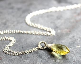 Lemon Quartz Necklace Sterling Silver Dolphin Briolette Teardrop Pendant Necklace