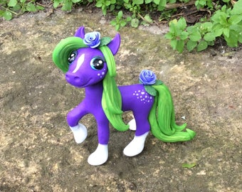 Polymer Clay Pony Figurine, Purple with Roses