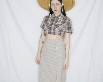 Vtg 50s brown gingham skirt size s/m