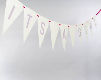 It's A Girl Bunting Banner   Bridal Shower Signage   Handcrafted Garland for Baby Announcement or Gender Reveal   Nursery Decor 3107