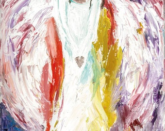 Angel of Sacred Silence ORIGINAL Oil on Canvas Stretched 10 x 20