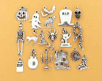 Halloween Charm Collection Deluxe Antique Silver Tone 18 Different Charms - COL088 NEW4