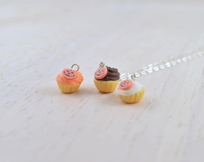 Pumpkin Cupcake Necklace in Silver