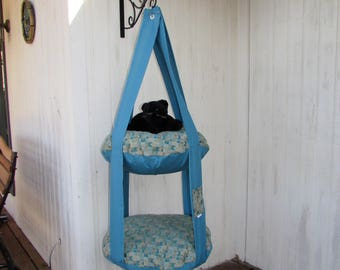 Hanging Cat Bed, Teal Geometric Print, Double Cat Bed, Kitty Cloud, Cat