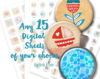 Any 15 Digital Collage Sheets of your choice. Images for bottle caps, cabochons, pendants, jewelry, cupcake toppers. Printable download.