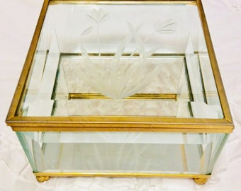 Vintage Etched Glass Curio Jewelry Box Display Beveled Glass with Mirror Casket Footed