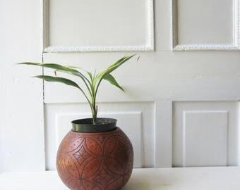 Vintage Carved Gourd Bowl - Plant Holder - Boho Home Decor - Vintage Home Decor