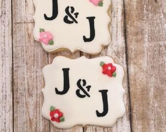 Monogram Wedding Favors, Anniversary Favor, Personalized Cookie Favors - 1 dozen