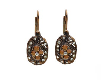 Vintage Antique Rose Gold Earrings with Topaz and Clear Swarovski Crystals, Jewelry, Gifts for her