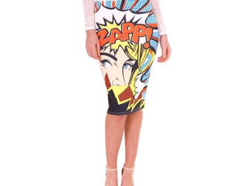 Retro Comic Book Pencil Skirt - Size Small/Medium