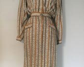 1980s Vintage Jeannene Booher for Maggie London Silk Striped Shirt Dress