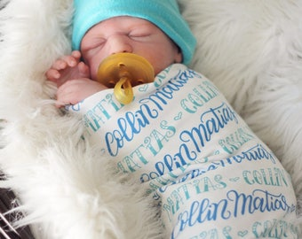 Hand lettered Swaddle - 2 Custom colors baby swaddle - Birth announcement - personalized swaddle
