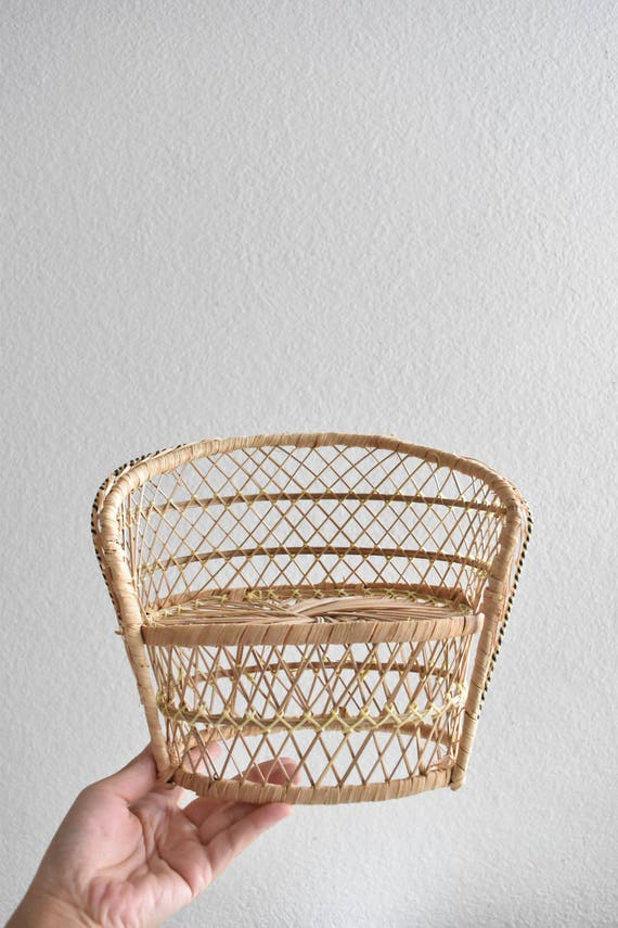 vintage wicker peacock chair couch planter / plant stand / doll chair / boho chic / 1 chair