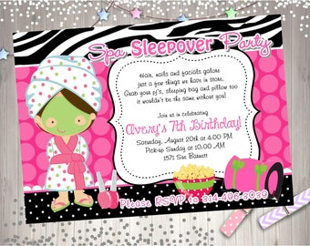 Sleepover Spa Party Invitation Invite Spa Sleepover birthday party printable spa day sleepover party CHOOSE YOUR GIRL