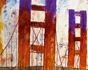 """FREEDOM, Golden Gate Bridge, San Francisco, Wall Art, Mixed media Original Abstract Expressionism Painting, 26""""x 31"""", Free Shipping in USA."""