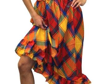 La Leela Multicolor Checks Printed 100% Cotton Halter Tube Maxi Dress For Women-900058