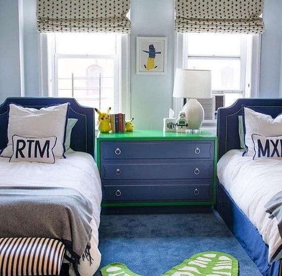 Twin Custom Bed -  With Inset Piping and Notches