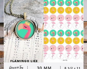 30 MM, Printable cabochon, digital download, Gracie and Joy, Tropical, Boho, Colorful Cabochon, Boho Pattern, Bottle Cap Image, Flamingo