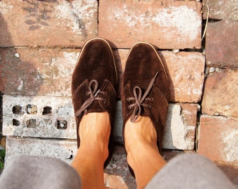 60's Brown Velvet Comfy Loafers Women's Size 10
