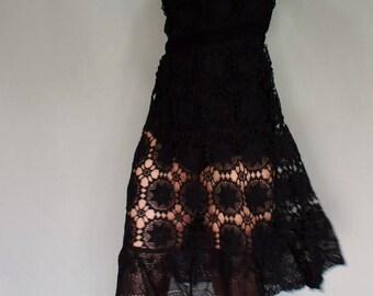70's Boho Hand Crocheted Black Dress