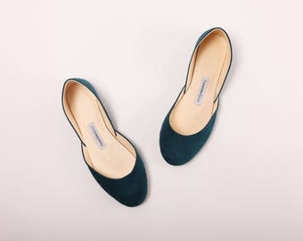 Teal Nubuck Ballet Flats | Women's Flat Leather Shoes |Pointe Style Minimalist Shoes | Teal ... Made to Order