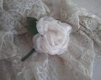 Pretty Ivory White Millinery Rose.