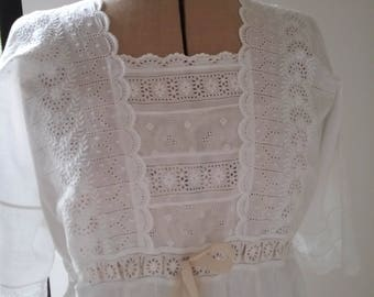 Very Pretty Antique Victorian Cotton Night Gown. Broderie Anglaise Bodice.