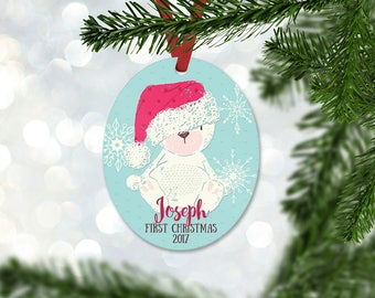 Personalized First Christmas Ornament, Baby Boy Keepsake Ornament, Baby's 1st Christmas, Christmas Bear with Hat, Christmas Gift (047)