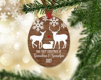 Personalized First Christmas as Grandma & Grandpa Ornament, Keepsake Ornament, Grandparents 1st Christmas, Faux Wood, Christmas Gift (029)