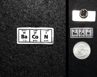Bacon Periodic Table Pewter Lapel Pin