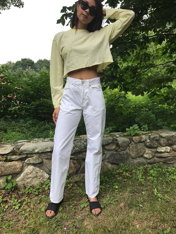 90s white high waist cotton pants / sailor pants / 30 Waist  / Eddie Bauer / 30 W