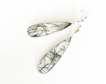 Long Silver Tourmalinated Quartz Earrings