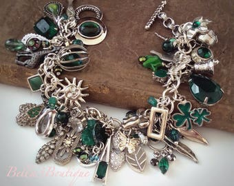 Handmade Green Beaded Cha Cha Mini-Charms Bracelet Upcycled Recycled One of a Kind!